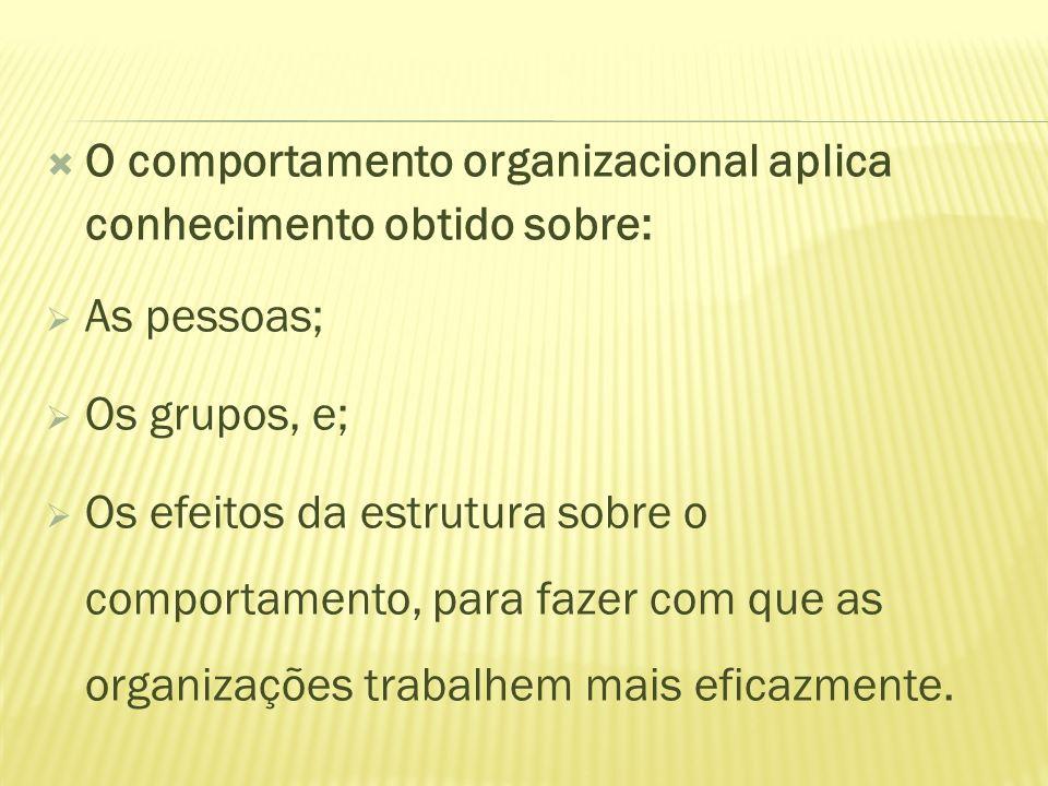 O comportamento organizacional aplica conhecimento obtido sobre: As pessoas; Os grupos, e; Os efeitos da estrutura sobre o comportamento, para fazer c