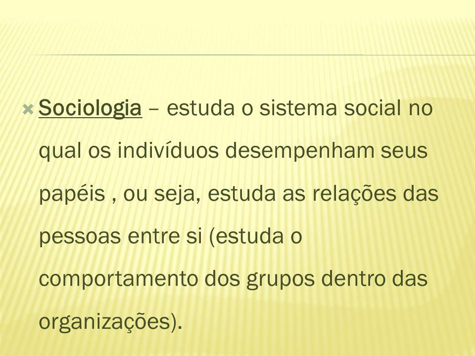 Sociologia – estuda o sistema social no qual os indivíduos desempenham seus papéis, ou seja, estuda as relações das pessoas entre si (estuda o comport