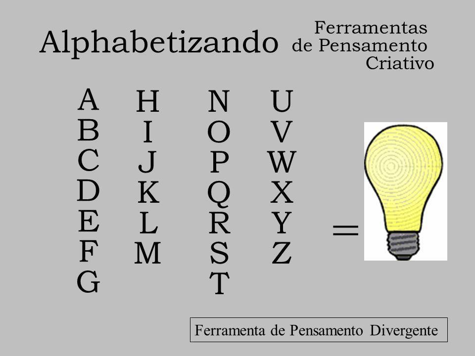 = Alphabetizando ABCDEFGABCDEFG HIJKLMHIJKLM NOPQRSTNOPQRST UVWXYZUVWXYZ Ferramentas de Pensamento Criativo Ferramenta de Pensamento Divergente