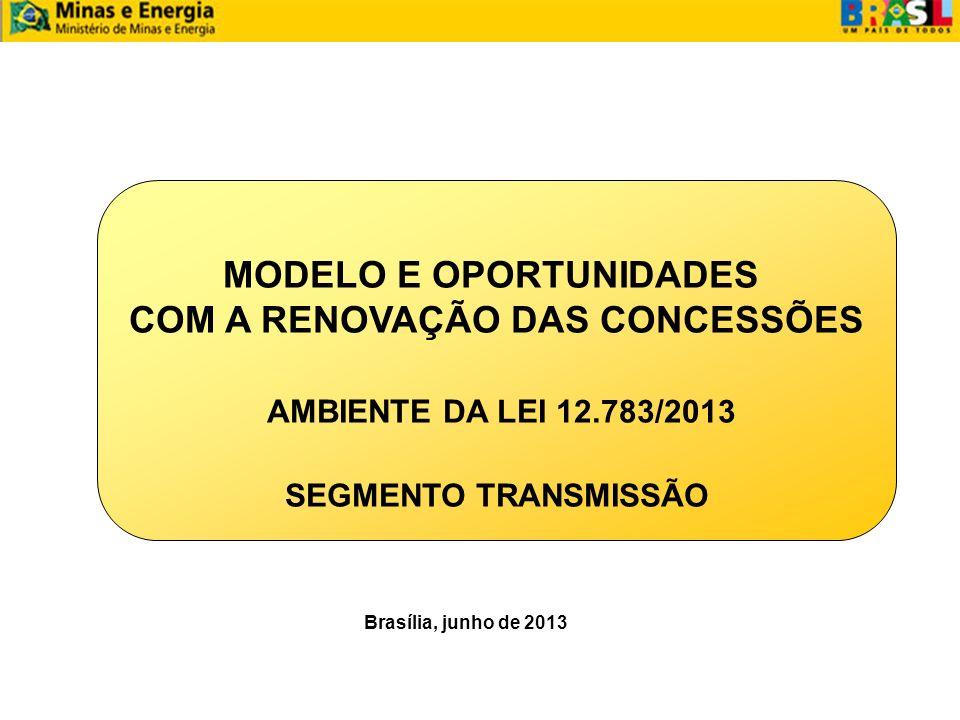 MODELO E OPORTUNIDADES COM A RENOVAÇÃO DAS CONCESSÕES AMBIENTE DA LEI 12.783/2013 SEGMENTO TRANSMISSÃO Brasília, junho de 2013