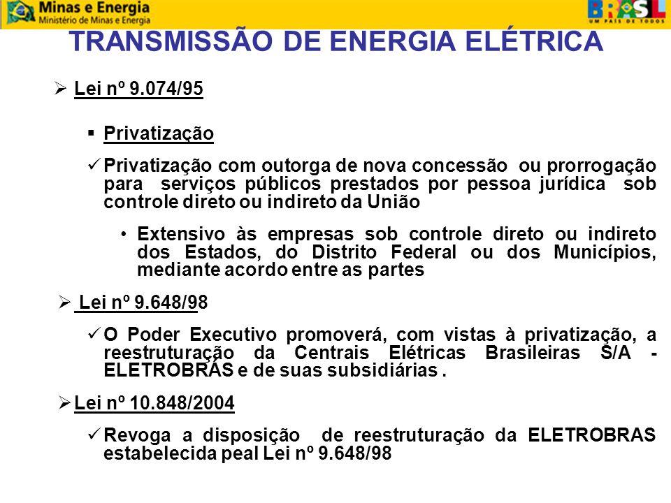 TRANSMISSÃO DE ENERGIA ELÉTRICA Lei nº 9.074/95 Lei nº 9.074/95 Privatização Privatização com outorga de nova concessão ou prorrogação para serviços públicos prestados por pessoa jurídica sob controle direto ou indireto da União Extensivo às empresas sob controle direto ou indireto dos Estados, do Distrito Federal ou dos Municípios, mediante acordo entre as partes Lei nº 9.648/98 Lei nº 9.648/9 O Poder Executivo promoverá, com vistas à privatização, a reestruturação da Centrais Elétricas Brasileiras S/A - ELETROBRÁS e de suas subsidiárias.