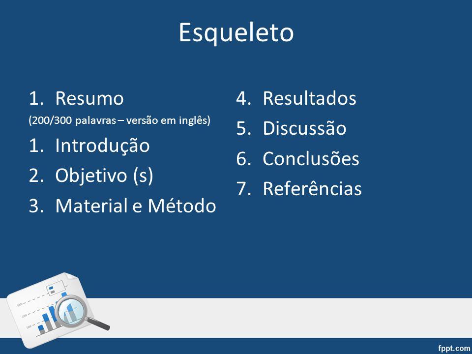 Esqueleto 1.Resumo (200/300 palavras – versão em inglês) 1.Introdução 2.Objetivo (s) 3.Material e Método 4.Resultados 5.Discussão 6.Conclusões 7.Refer
