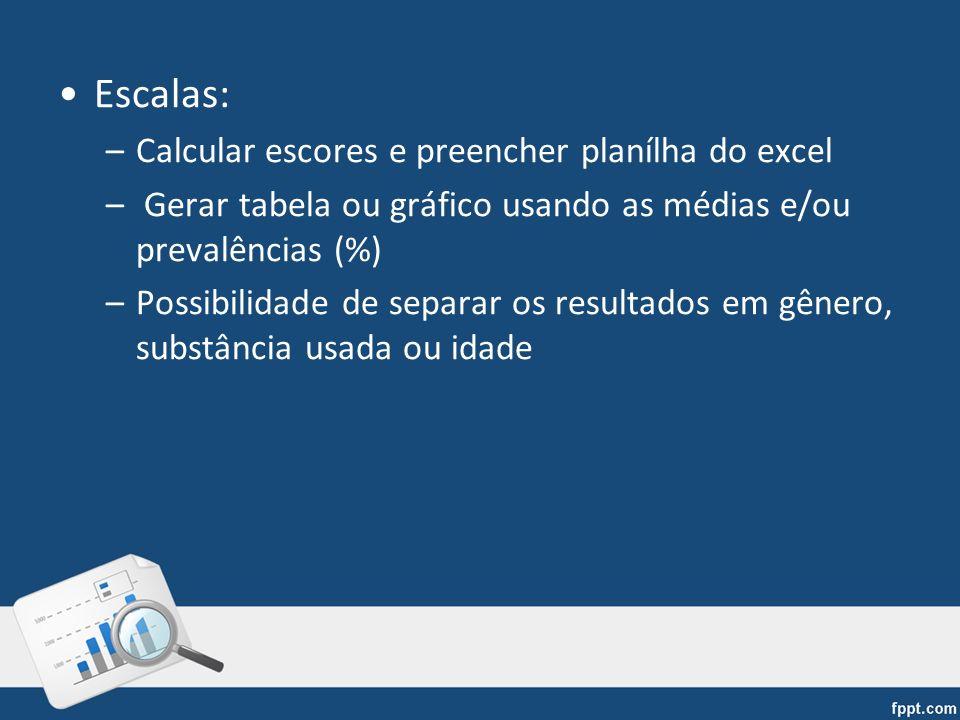 Escalas: –Calcular escores e preencher planílha do excel – Gerar tabela ou gráfico usando as médias e/ou prevalências (%) –Possibilidade de separar os