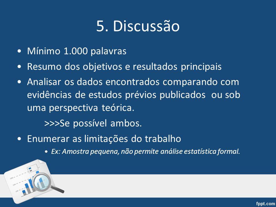 5. Discussão Mínimo 1.000 palavras Resumo dos objetivos e resultados principais Analisar os dados encontrados comparando com evidências de estudos pré