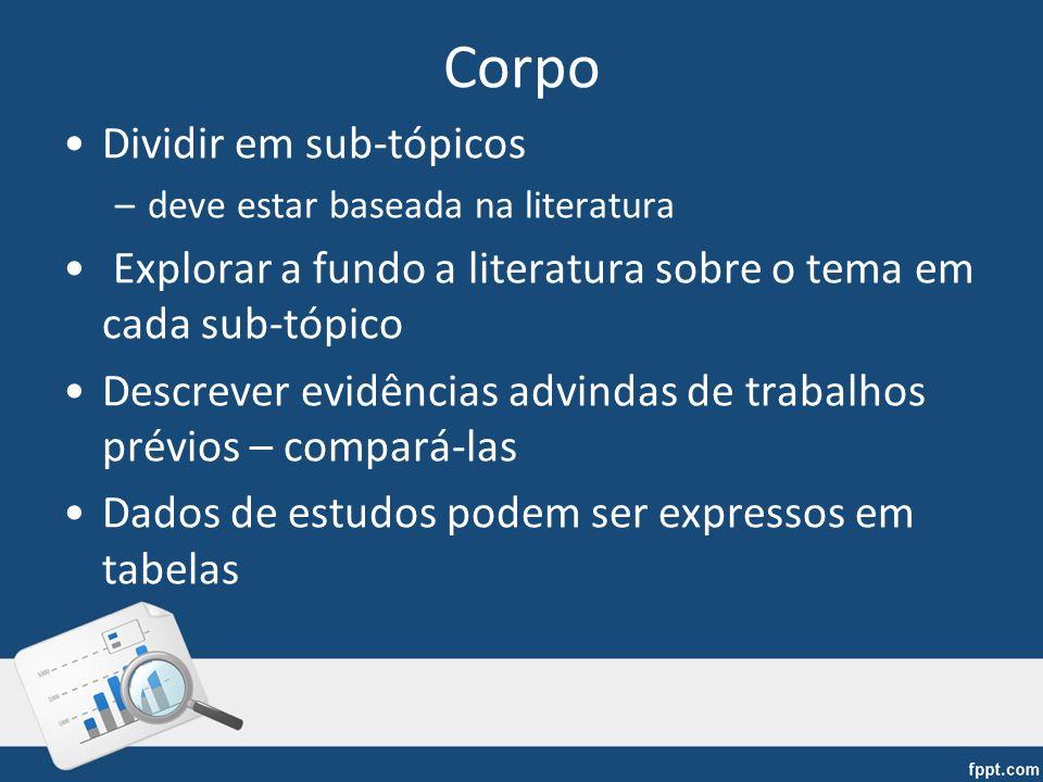 Corpo Dividir em sub-tópicos –deve estar baseada na literatura Explorar a fundo a literatura sobre o tema em cada sub-tópico Descrever evidências advi