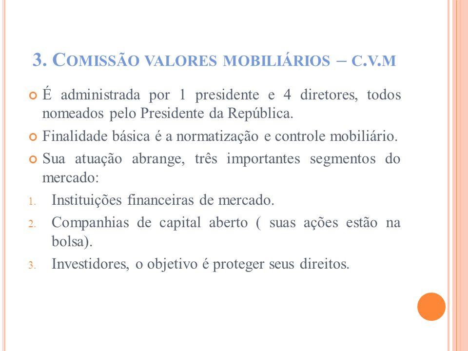 3. C OMISSÃO VALORES MOBILIÁRIOS – C. V. M É administrada por 1 presidente e 4 diretores, todos nomeados pelo Presidente da República. Finalidade bási