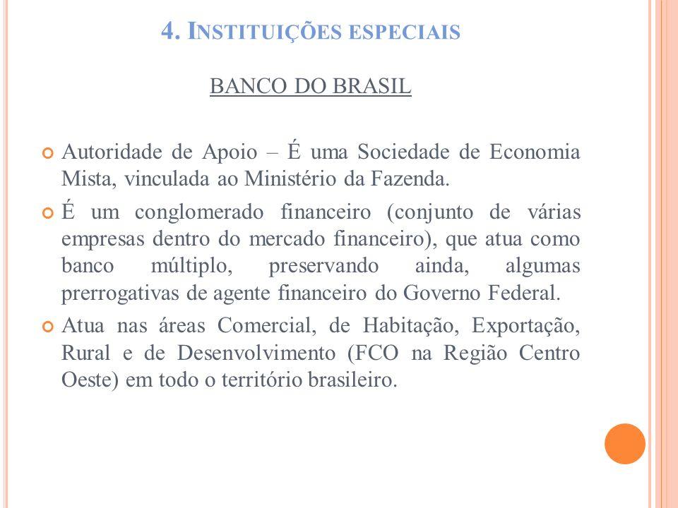 4. I NSTITUIÇÕES ESPECIAIS BANCO DO BRASIL Autoridade de Apoio – É uma Sociedade de Economia Mista, vinculada ao Ministério da Fazenda. É um conglomer