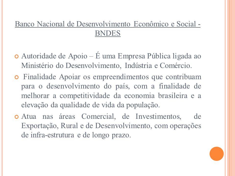 Banco Nacional de Desenvolvimento Econômico e Social - BNDES Autoridade de Apoio – É uma Empresa Pública ligada ao Ministério do Desenvolvimento, Indú