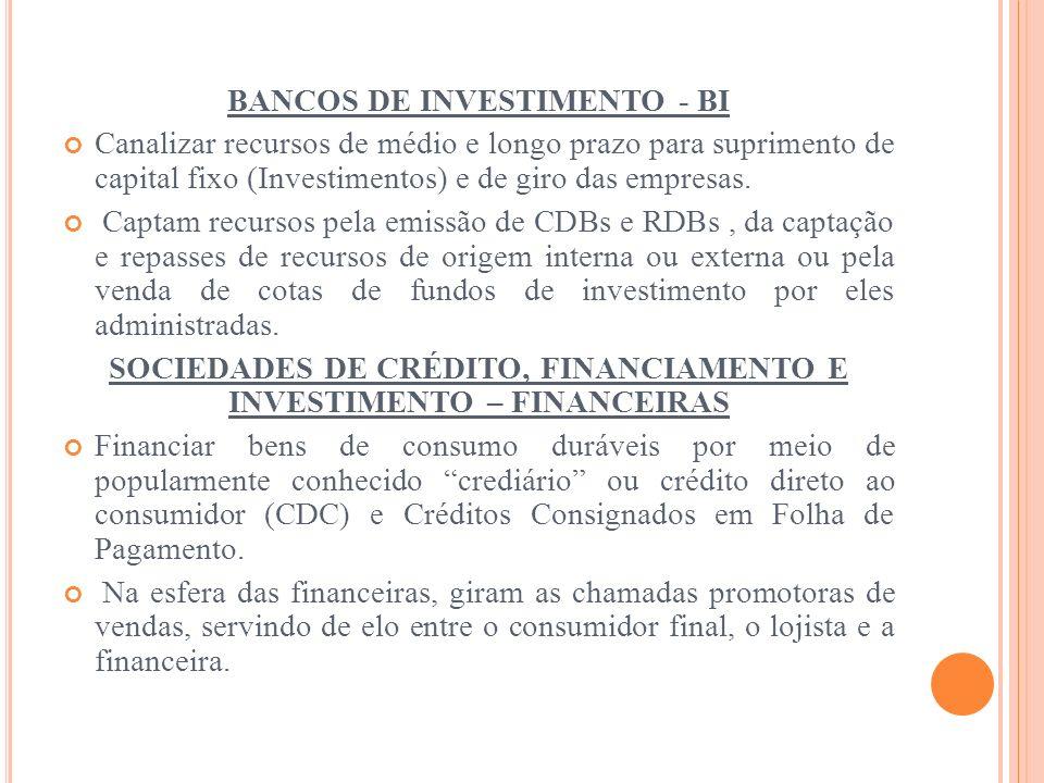 BANCOS DE INVESTIMENTO - BI Canalizar recursos de médio e longo prazo para suprimento de capital fixo (Investimentos) e de giro das empresas. Captam r