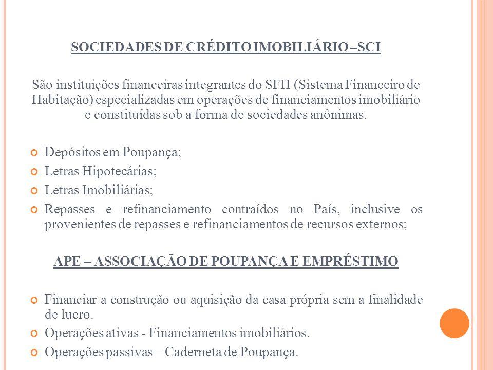 SOCIEDADES DE CRÉDITO IMOBILIÁRIO –SCI São instituições financeiras integrantes do SFH (Sistema Financeiro de Habitação) especializadas em operações d