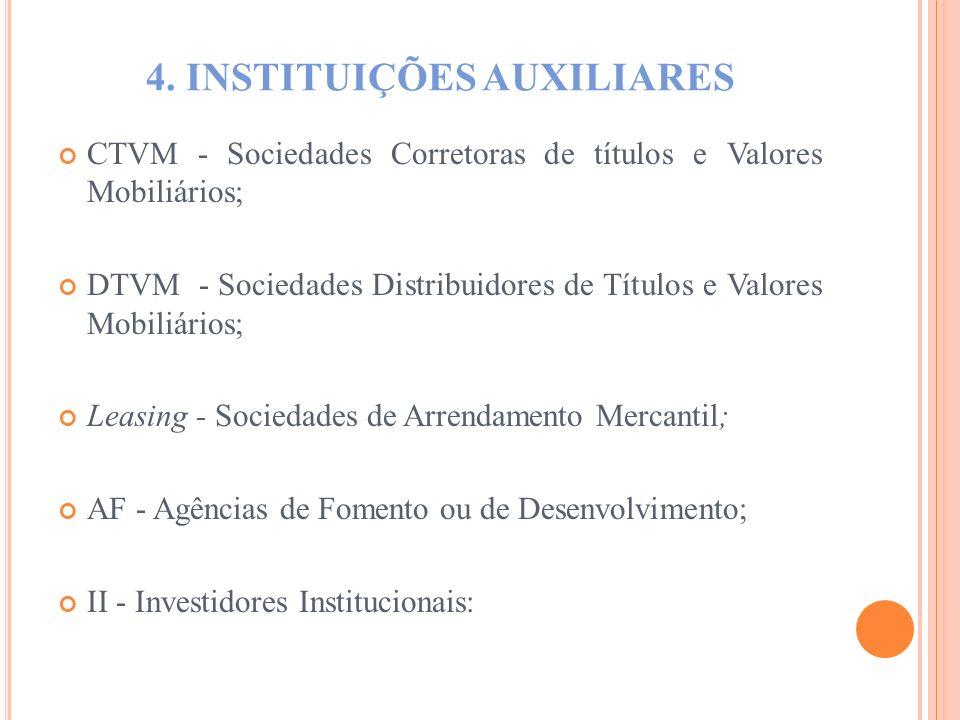 4. INSTITUIÇÕES AUXILIARES CTVM - Sociedades Corretoras de títulos e Valores Mobiliários; DTVM - Sociedades Distribuidores de Títulos e Valores Mobili