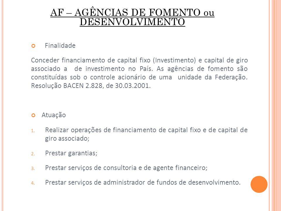 AF – AGÊNCIAS DE FOMENTO ou DESENVOLVIMENTO Finalidade Conceder financiamento de capital fixo (Investimento) e capital de giro associado a de investim