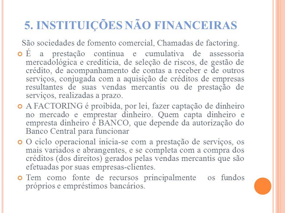 5. INSTITUIÇÕES NÃO FINANCEIRAS São sociedades de fomento comercial, Chamadas de factoring. É a prestação continua e cumulativa de assessoria mercadol