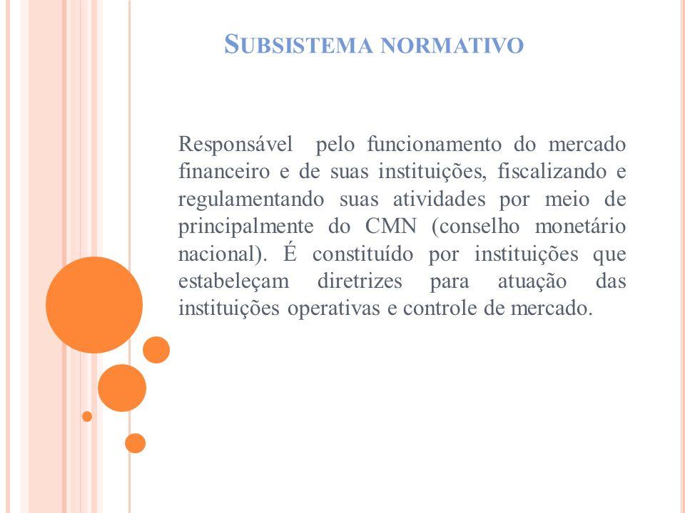 S UBSISTEMA NORMATIVO Responsável pelo funcionamento do mercado financeiro e de suas instituições, fiscalizando e regulamentando suas atividades por m