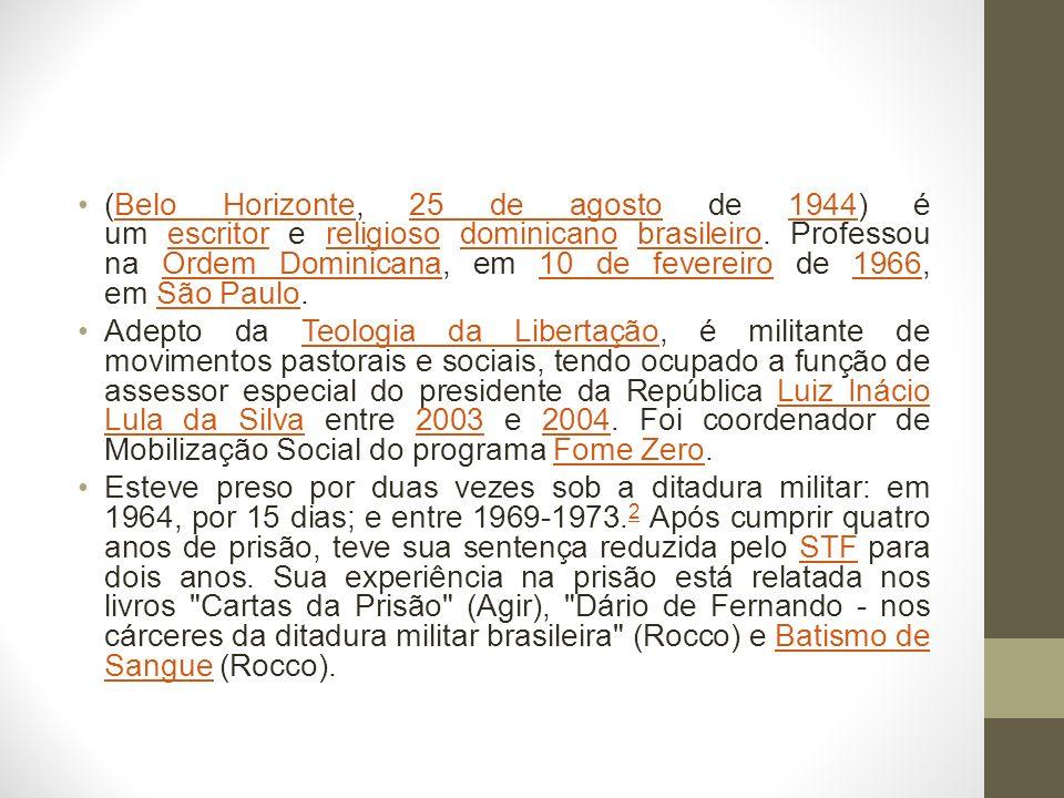 Premiado com o Jabuti de 1983, traduzido na França e na Itália, Batismo de Sangue descreve os bastidores do regime militar, a participação dos frades dominicanos na resistência à ditadura, a morte de Carlos Marighella e as torturas sofridas por Frei Tito.