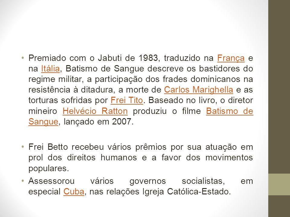 Premiado com o Jabuti de 1983, traduzido na França e na Itália, Batismo de Sangue descreve os bastidores do regime militar, a participação dos frades
