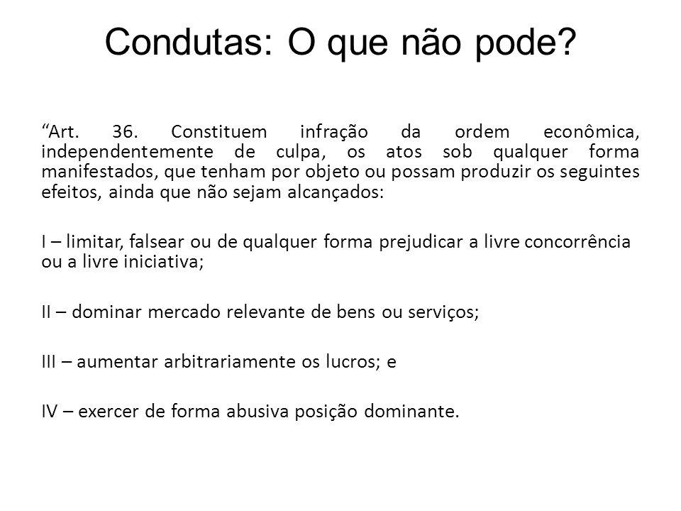 Condutas: O que não pode? Art. 36. Constituem infração da ordem econômica, independentemente de culpa, os atos sob qualquer forma manifestados, que te