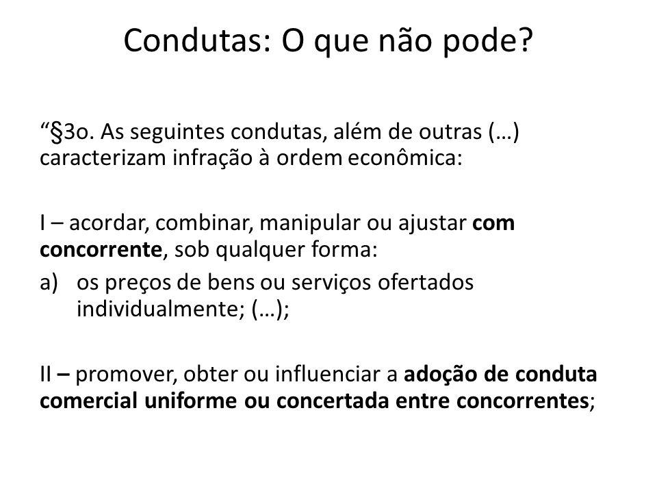 Condutas: O que não pode? §3o. As seguintes condutas, além de outras (…) caracterizam infração à ordem econômica: I – acordar, combinar, manipular ou