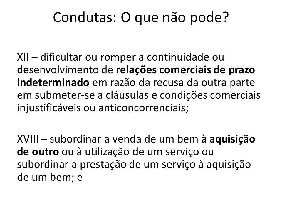 Condutas: O que não pode? XII – dificultar ou romper a continuidade ou desenvolvimento de relações comerciais de prazo indeterminado em razão da recus
