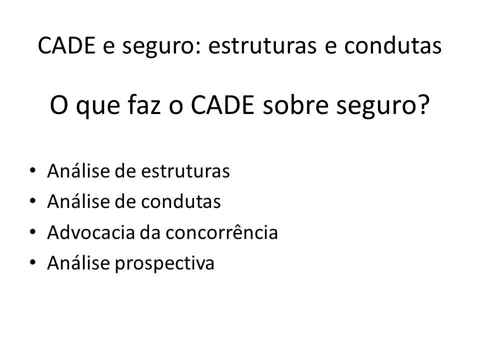 CADE e seguro: estruturas e condutas Análise de Estrutura: -Seguradoras e resseguradoras: 30 -Corretoras: 14 -Planos e seguros saúde: 2 -Previdência complementar aberta e seguro de vida: 17