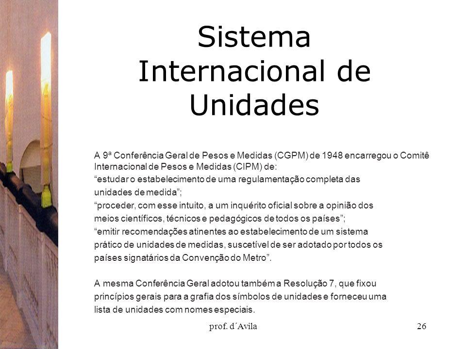 prof. d´Avila26 Sistema Internacional de Unidades A 9ª Conferência Geral de Pesos e Medidas (CGPM) de 1948 encarregou o Comitê Internacional de Pesos