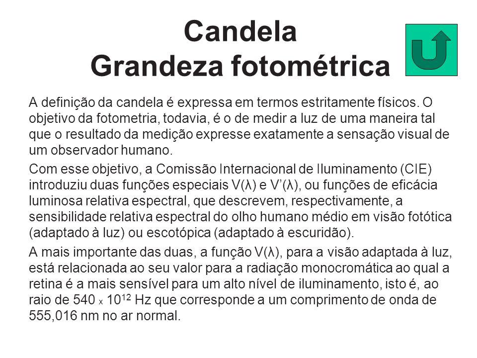 Candela Grandeza fotométrica A definição da candela é expressa em termos estritamente físicos. O objetivo da fotometria, todavia, é o de medir a luz d