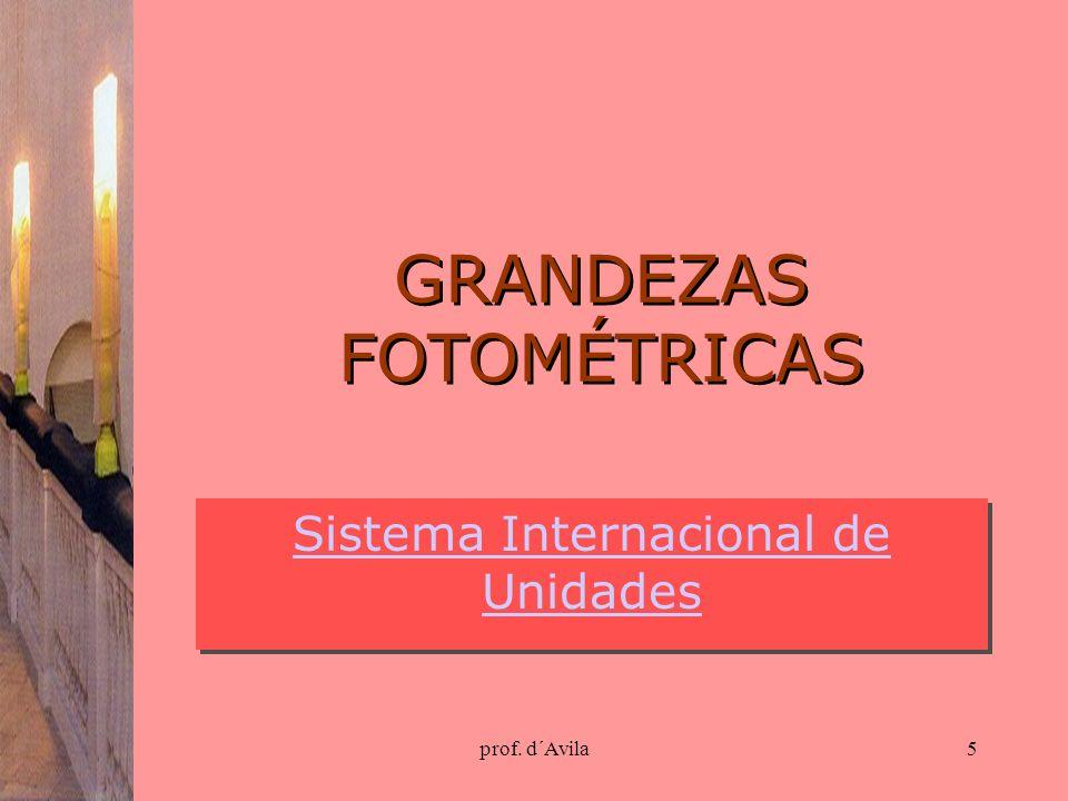 prof. d´Avila5 GRANDEZAS FOTOMÉTRICAS Sistema Internacional de Unidades Sistema Internacional de Unidades
