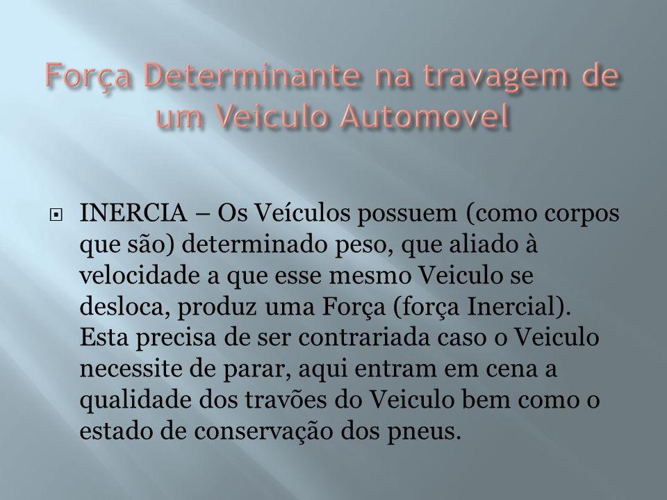 INERCIA – Os Veículos possuem (como corpos que são) determinado peso, que aliado à velocidade a que esse mesmo Veiculo se desloca, produz uma Força (força Inercial).