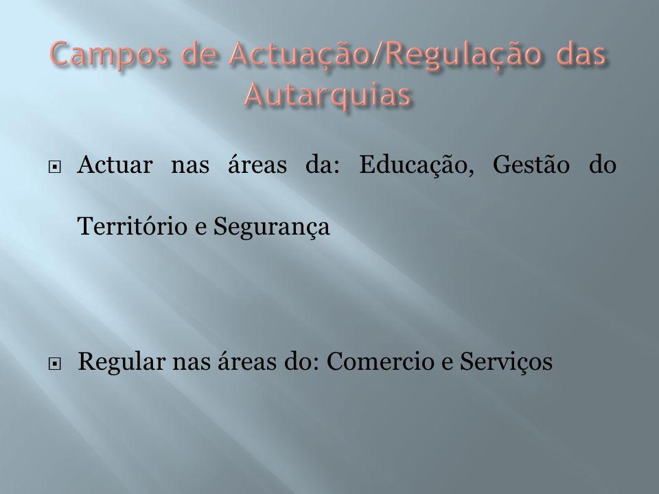 Actuar nas áreas da: Educação, Gestão do Território e Segurança Regular nas áreas do: Comercio e Serviços