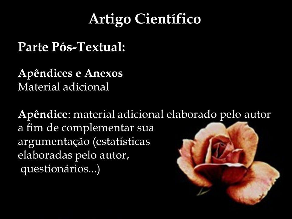 Artigo Científico Parte Pós-Textual: Apêndices e Anexos Material adicional Apêndice : material adicional elaborado pelo autor a fim de complementar su