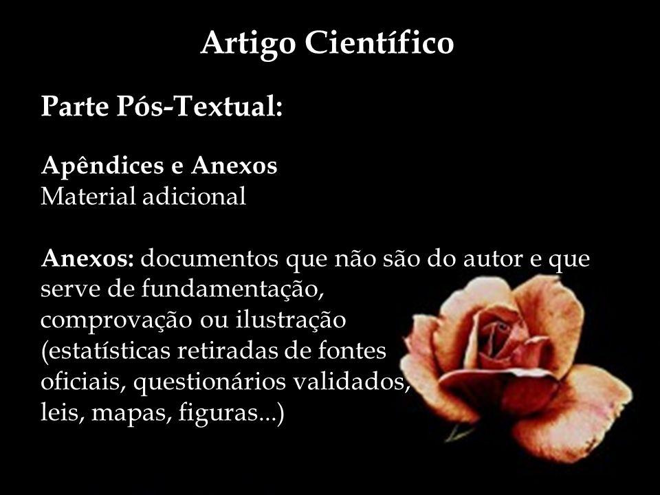 Artigo Científico Parte Pós-Textual: Apêndices e Anexos Material adicional Anexos: documentos que não são do autor e que serve de fundamentação, compr