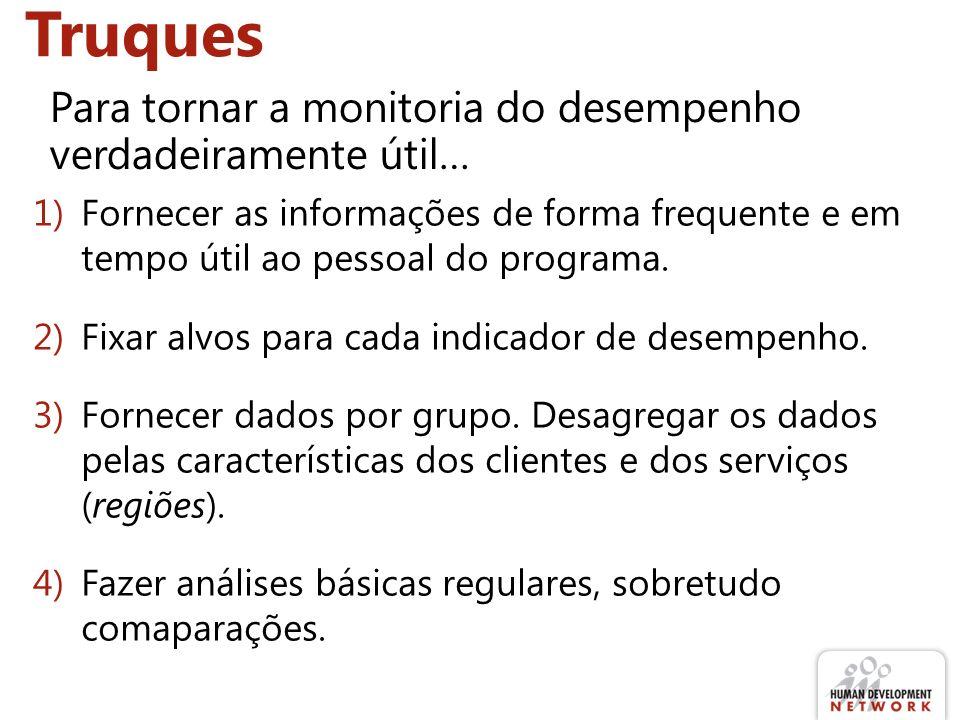 1)Fornecer as informações de forma frequente e em tempo útil ao pessoal do programa.