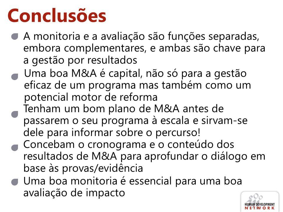 Conclusões Uma boa M&A é capital, não só para a gestão eficaz de um programa mas também como um potencial motor de reforma A monitoria e a avaliação s