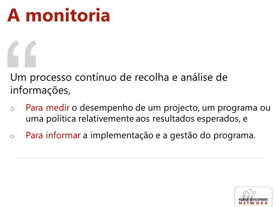 A monitoria Um processo contínuo de recolha e análise de informações, o Para medir o desempenho de um projecto, um programa ou uma política relativemente aos resultados esperados, e o Para informar a implementação e a gestão do programa.