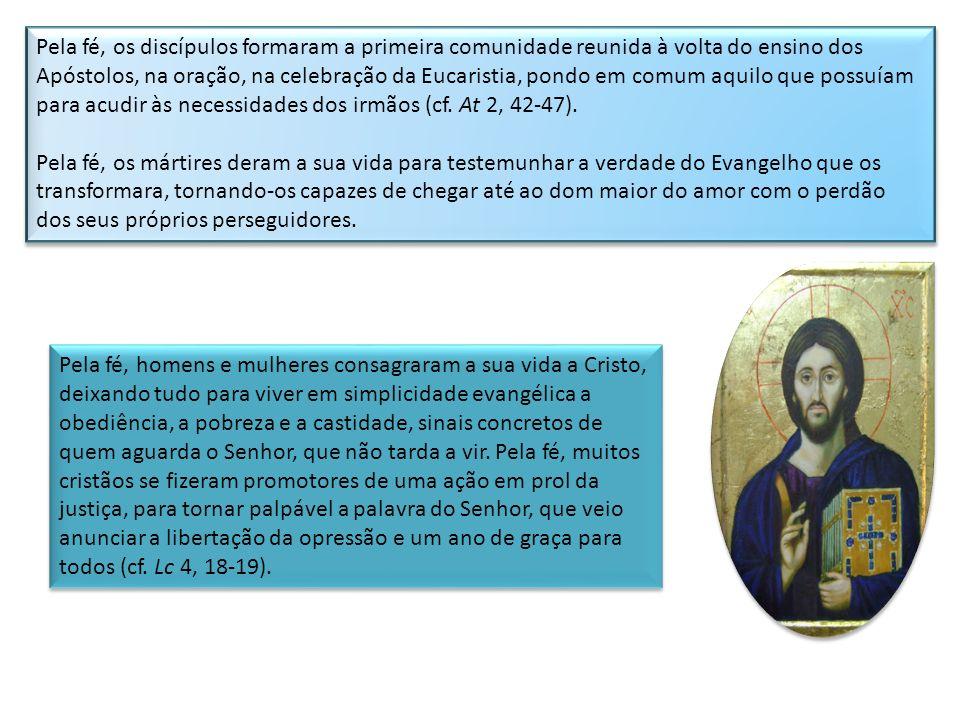 Pela fé, os discípulos formaram a primeira comunidade reunida à volta do ensino dos Apóstolos, na oração, na celebração da Eucaristia, pondo em comum