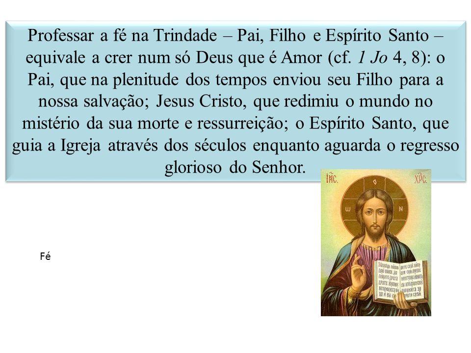 Professar a fé na Trindade – Pai, Filho e Espírito Santo – equivale a crer num só Deus que é Amor (cf. 1 Jo 4, 8): o Pai, que na plenitude dos tempos