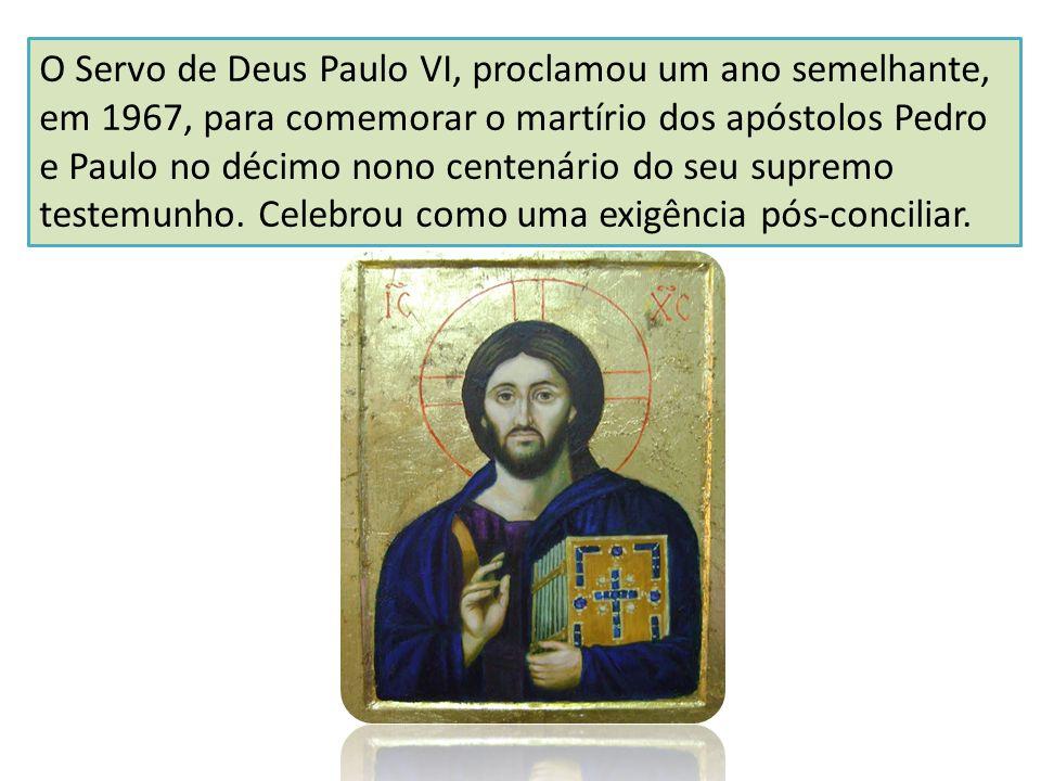 O Servo de Deus Paulo VI, proclamou um ano semelhante, em 1967, para comemorar o martírio dos apóstolos Pedro e Paulo no décimo nono centenário do seu
