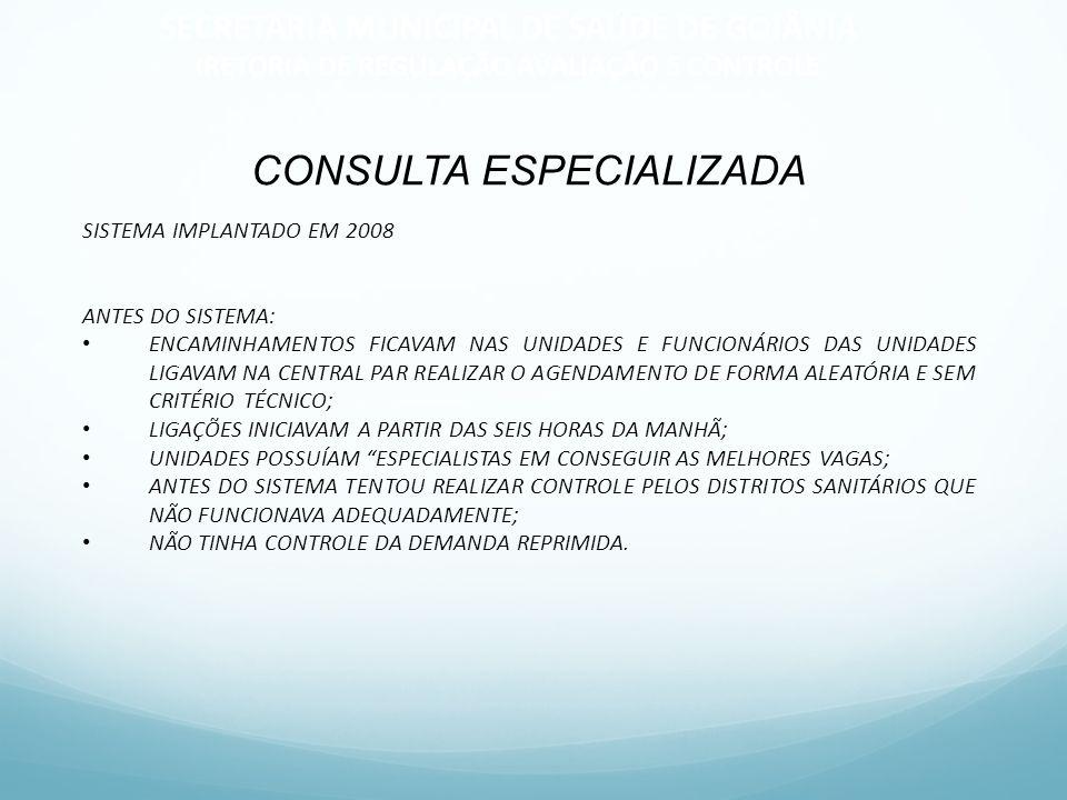 CONSULTA ESPECIALIZADA SISTEMA IMPLANTADO EM 2008 ANTES DO SISTEMA: ENCAMINHAMENTOS FICAVAM NAS UNIDADES E FUNCIONÁRIOS DAS UNIDADES LIGAVAM NA CENTRA