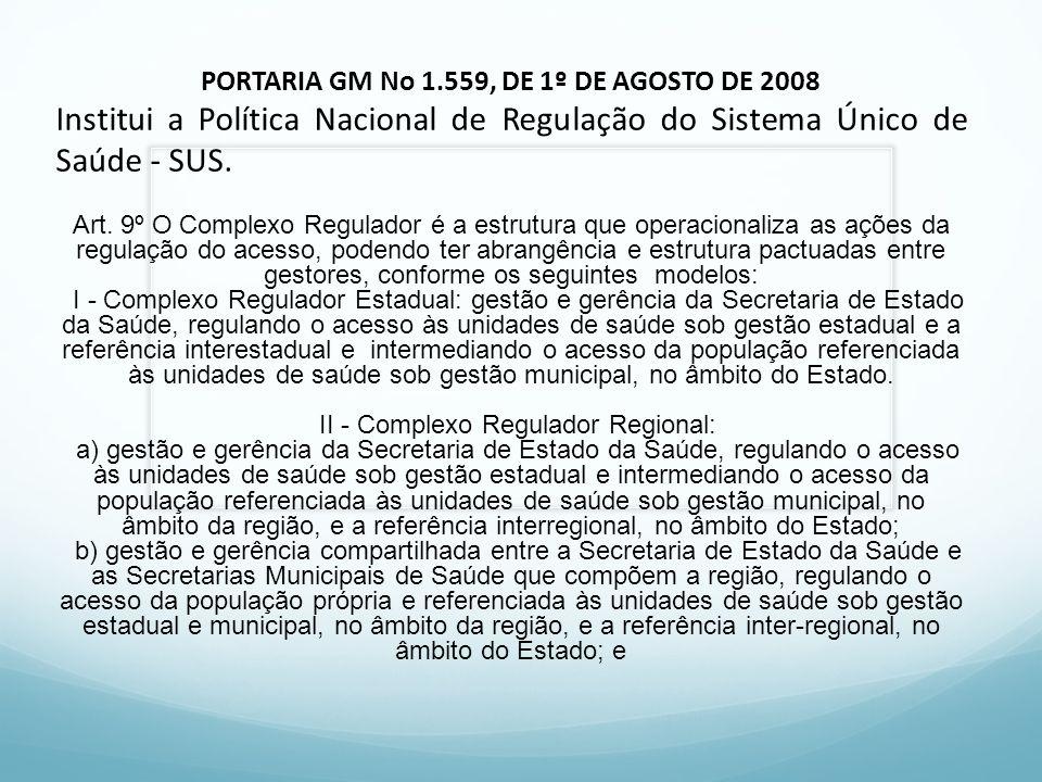 PORTARIA GM No 1.559, DE 1º DE AGOSTO DE 2008 Institui a Política Nacional de Regulação do Sistema Único de Saúde - SUS. Art. 9º O Complexo Regulador