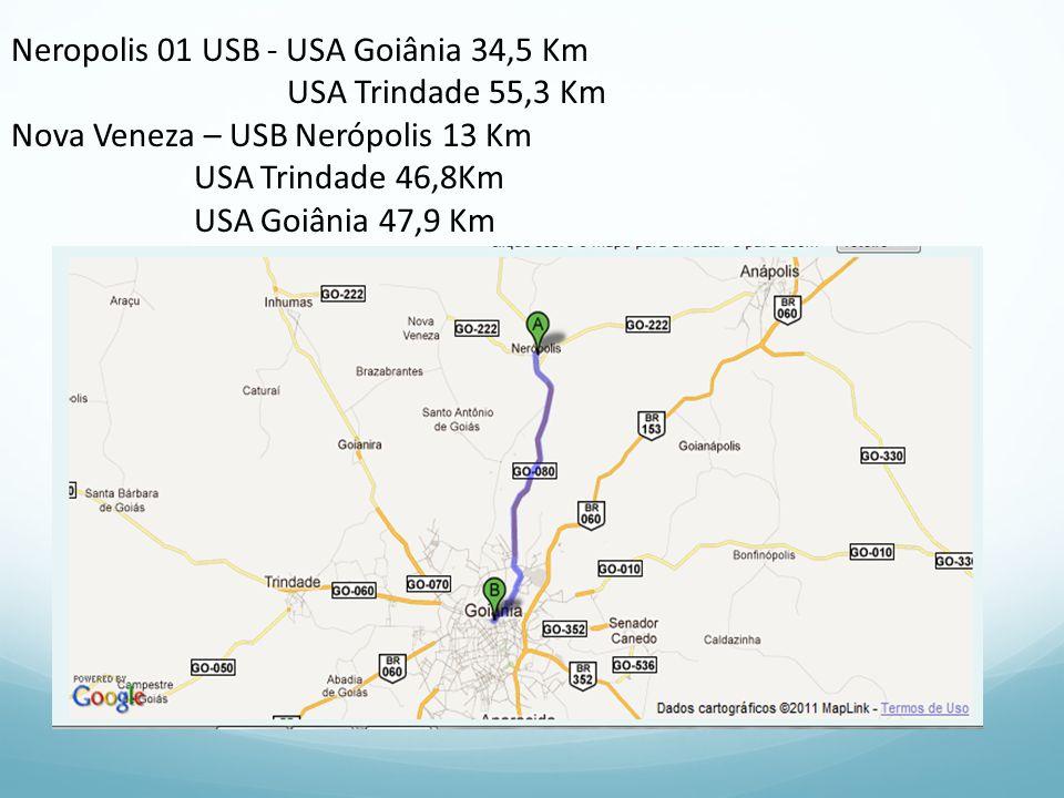 Neropolis 01 USB - USA Goiânia 34,5 Km USA Trindade 55,3 Km Nova Veneza – USB Nerópolis 13 Km USA Trindade 46,8Km USA Goiânia 47,9 Km