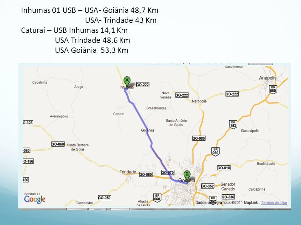 Inhumas 01 USB – USA- Goiânia 48,7 Km USA- Trindade 43 Km Caturaí – USB Inhumas 14,1 Km USA Trindade 48,6 Km USA Goiânia 53,3 Km
