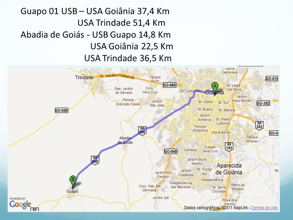 Guapo 01 USB – USA Goiânia 37,4 Km USA Trindade 51,4 Km Abadia de Goiás - USB Guapo 14,8 Km USA Goiânia 22,5 Km USA Trindade 36,5 Km