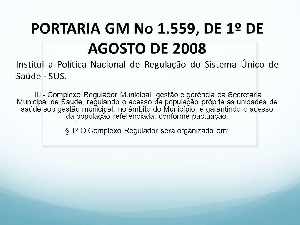 PORTARIA GM No 1.559, DE 1º DE AGOSTO DE 2008 Institui a Política Nacional de Regulação do Sistema Único de Saúde - SUS. III - Complexo Regulador Muni