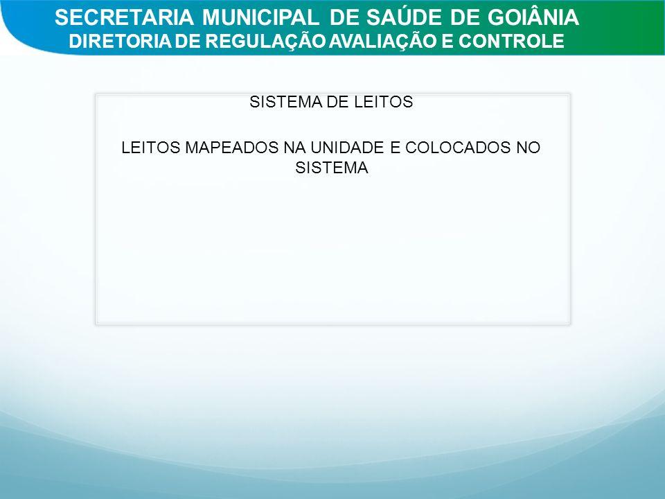 SISTEMA DE LEITOS LEITOS MAPEADOS NA UNIDADE E COLOCADOS NO SISTEMA SECRETARIA MUNICIPAL DE SAÚDE DE GOIÂNIA DIRETORIA DE REGULAÇÃO AVALIAÇÃO E CONTRO