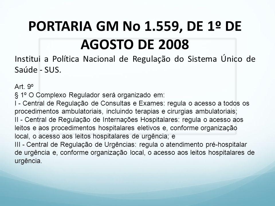 PORTARIA GM No 1.559, DE 1º DE AGOSTO DE 2008 Institui a Política Nacional de Regulação do Sistema Único de Saúde - SUS. Art. 9º § 1º O Complexo Regul