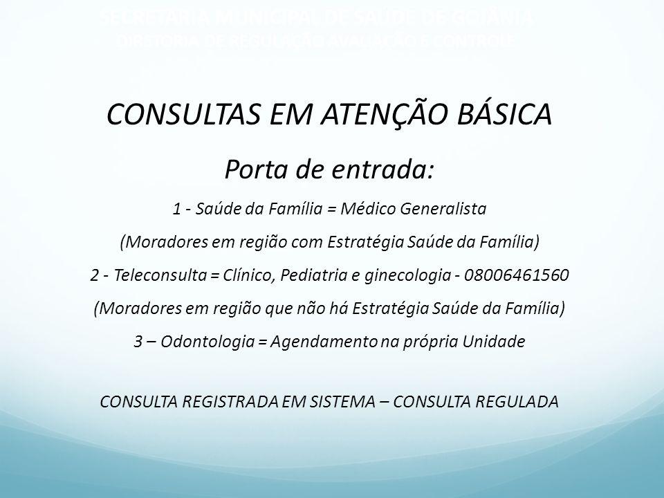 CONSULTAS EM ATENÇÃO BÁSICA Porta de entrada: 1 - Saúde da Família = Médico Generalista (Moradores em região com Estratégia Saúde da Família) 2 - Tele