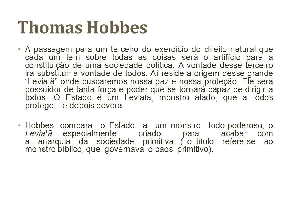 Thomas Hobbes A passagem para um terceiro do exercício do direito natural que cada um tem sobre todas as coisas será o artifício para a constituição d