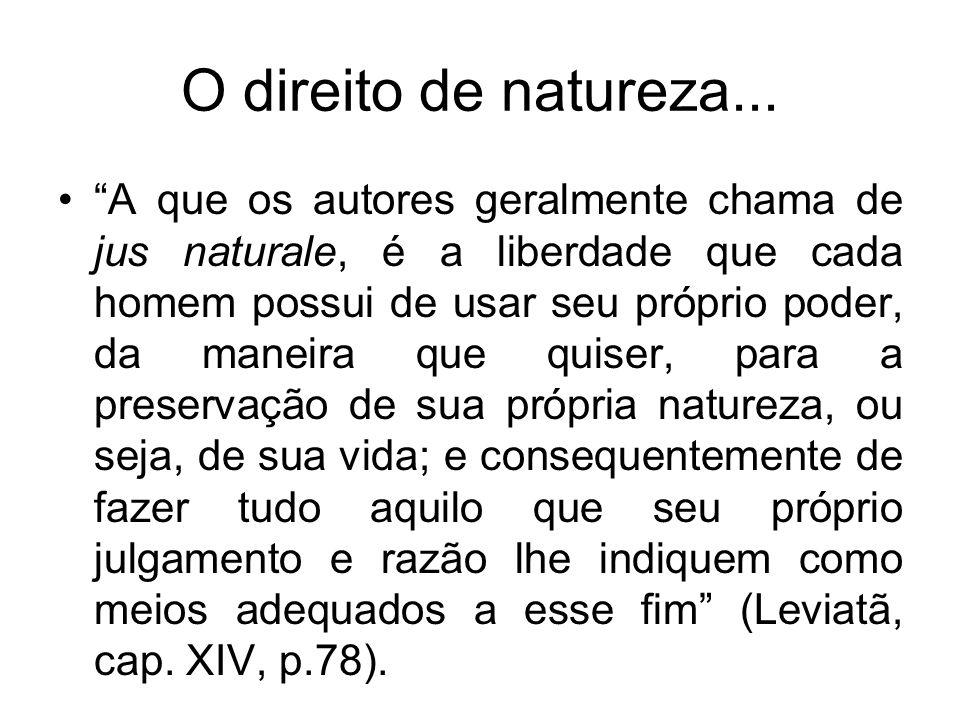 O direito de natureza... A que os autores geralmente chama de jus naturale, é a liberdade que cada homem possui de usar seu próprio poder, da maneira
