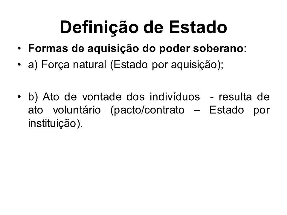 Definição de Estado Formas de aquisição do poder soberano: a) Força natural (Estado por aquisição); b) Ato de vontade dos indivíduos - resulta de ato