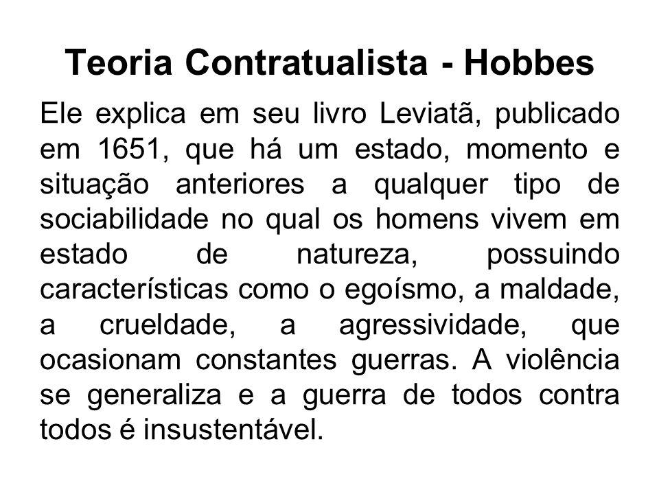 Teoria Contratualista - Hobbes Ele explica em seu livro Leviatã, publicado em 1651, que há um estado, momento e situação anteriores a qualquer tipo de